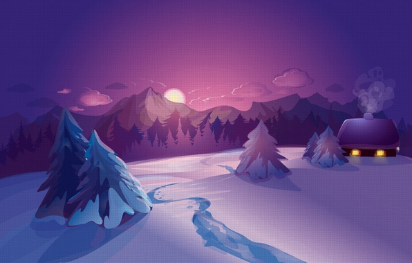 Picture Nature, Winter, Snow, Spruce, Landscape, Sunrises and sunsets, Vector graphics