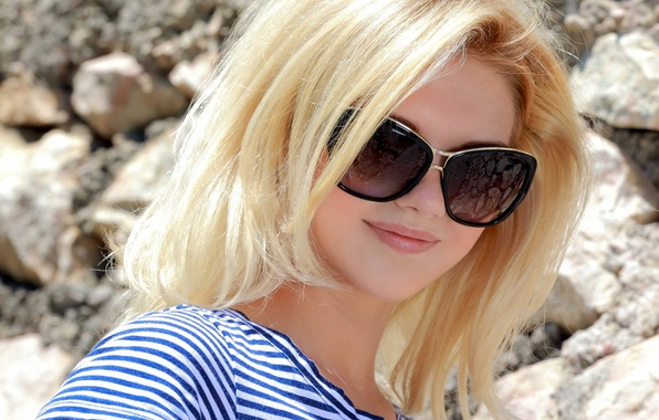 Picture smile, strip, Girl, glasses, blonde, lips, blouse