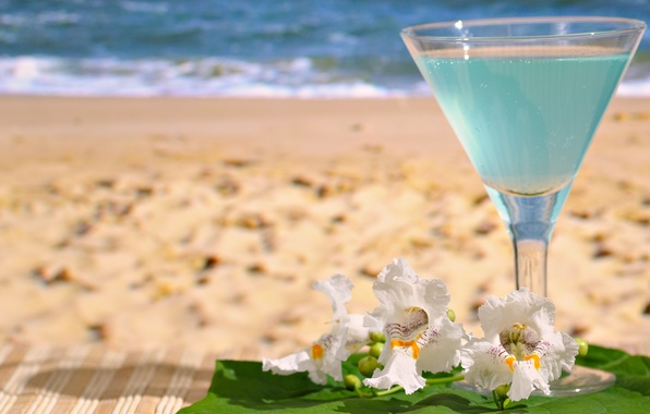Picture sand, sea, beach, glass, drink