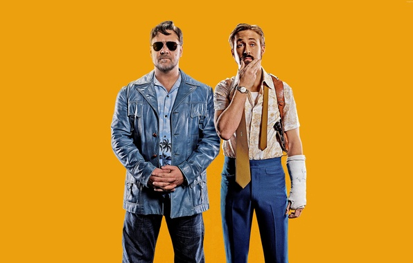 Picture yellow, background, Thriller, poster, crime, Russell Crowe, Russell Crowe, Ryan Gosling, Ryan Gosling, The Nice …