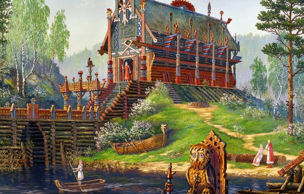Picture river, boat, spring, temple, painting, art, history, Vsevolod Ivanov, Russian folklore, late spring, The Temple …