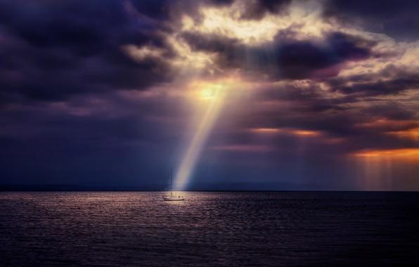 Picture sea, night, ship