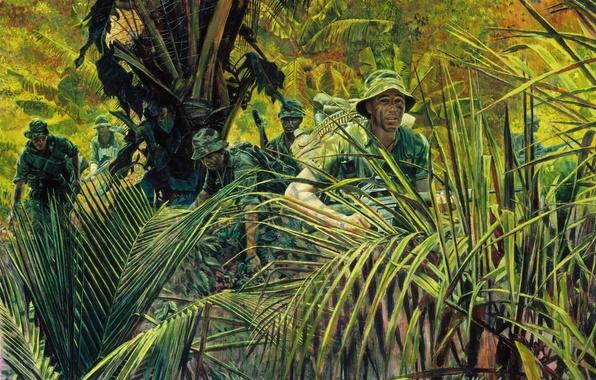 Picture weapons, figure, jungle, soldiers, Vietnam, equipment, M. Kunstler.