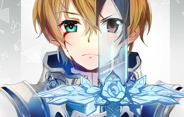 Picture eyes, sword, anime, art, Sword Art Online 3