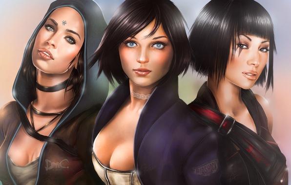 Picture game, girls, art, Faith, DmC, Devil May Cry, Kat, Kat, BioShock Infinite, Elizabeth, Mirror's Edge