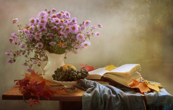 Picture autumn, leaves, bouquet, grapes, book, still life, asters