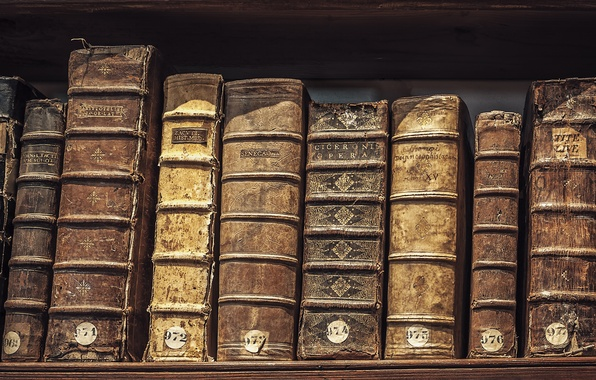 Picture old, books, library, hardcover