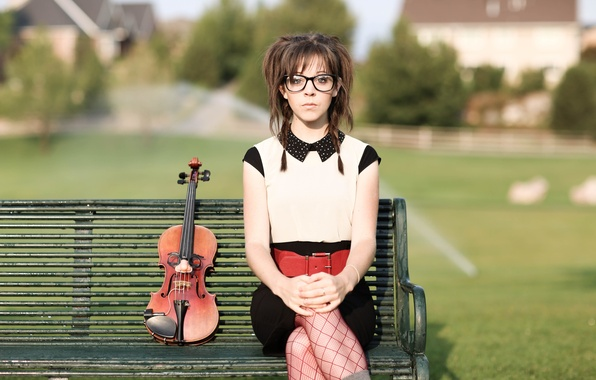 Picture bench, violin, violin, Lindsey Stirling, Lindsey Stirling