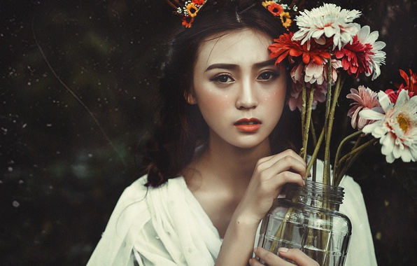 Picture look, girl, flowers, face, background, mood, bouquet, makeup, Bank, Asian, gerbera