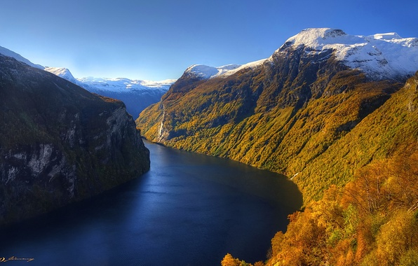 Picture autumn, the sky, snow, mountains, river, slope
