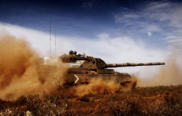 Picture the sky, dust, leopard, tank, Leopard
