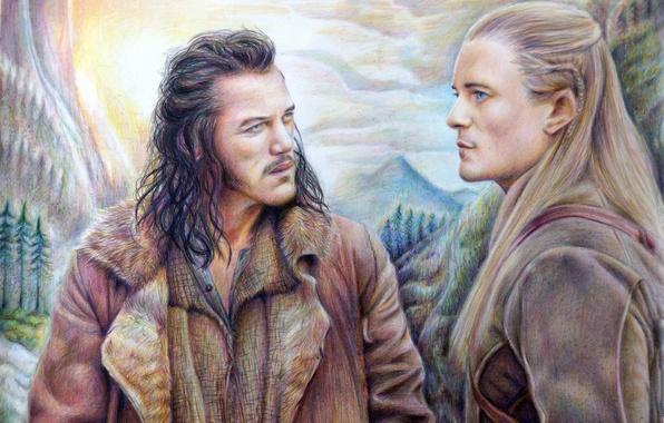 Picture mountains, Legolas, The hobbit, The Hobbit, Bard The Bowman