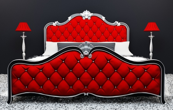 Picture red, design, bed, decoration
