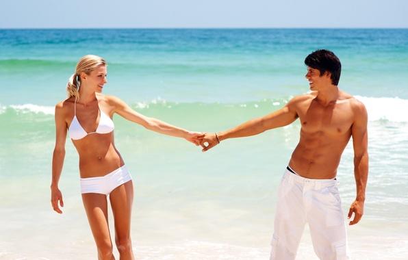 Picture sea, beach, swimsuit, summer, girl, joy, blonde, pair, surf, guy