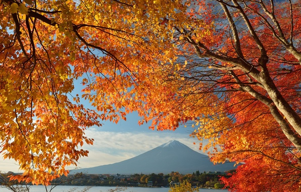 Picture autumn, the sky, leaves, trees, lake, house, Japan, mount Fuji