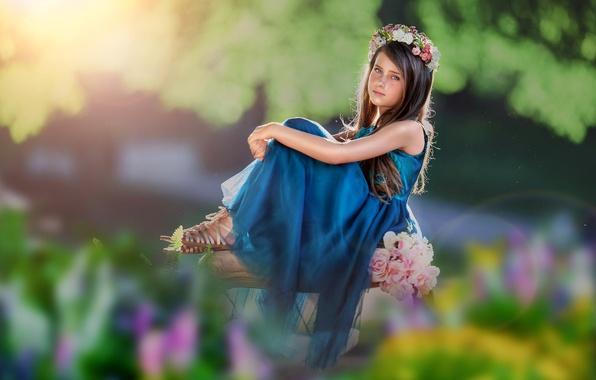 Picture look, flowers, dress, girl, wreath, bokeh