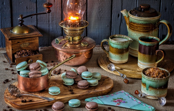 Picture style, lamp, kettle, cookies, mug, sugar, still life, coffee grinder, pasta