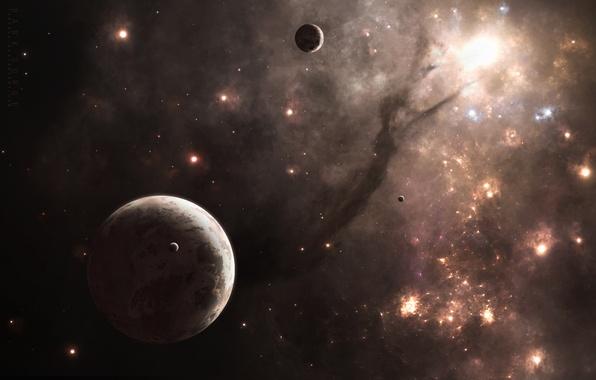 Picture space, planet, satellites