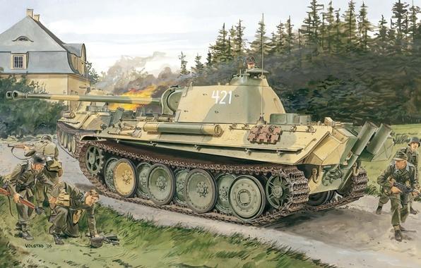 Picture Figure, Panther, Panther, PzKpfw V, German, Sd. Car. 171, Panzerkampfwagen V, Medium-heavy tank, Version G, …