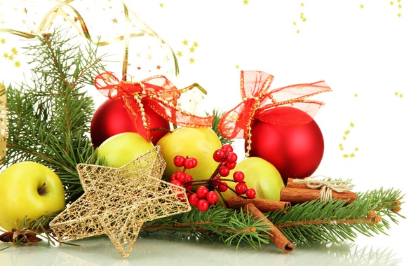 Picture balls, berries, balls, apples, toys, star, spruce, branch, sticks, New Year, green, Christmas, red, tree, …
