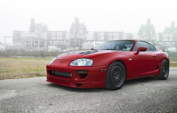 Picture black, red, supra, drives, red, toyota, Toyota, supra