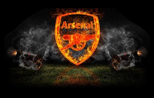 Picture fire, smoke, logo, gun, art, emblem, art, Arsenal, Arsenal, Football Club, the gunners, The Gunners, …