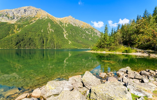 Picture the sky, water, the sun, trees, mountains, lake, reflection, stones, shore, Poland, Tatra Mountains