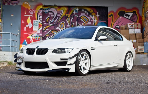 Picture white, graffiti, bmw, BMW, white, front view, e92