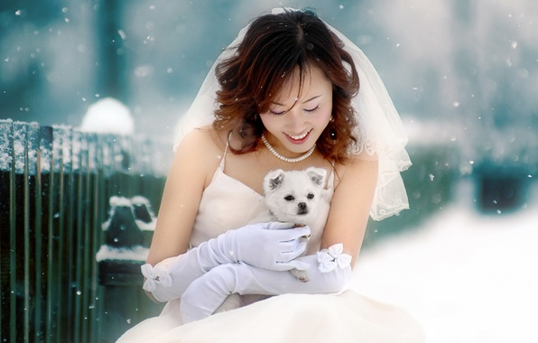 Picture Winter, Girl, Asian, Puppy
