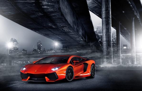 Picture night, orange, bridge, the city, lights, lamborghini, columns, orange, headlights, aventador, lp700-4, Lamborghini, aventador