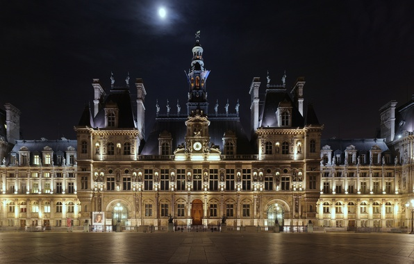 Picture night, lights, the moon, France, Paris, watch, lighting, area, panorama, lantern, Paris, the hotel, France, …