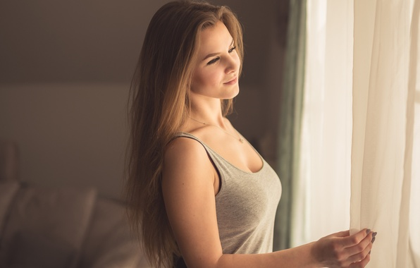 Picture chest, girl, Mike, neckline, the beauty, young girl