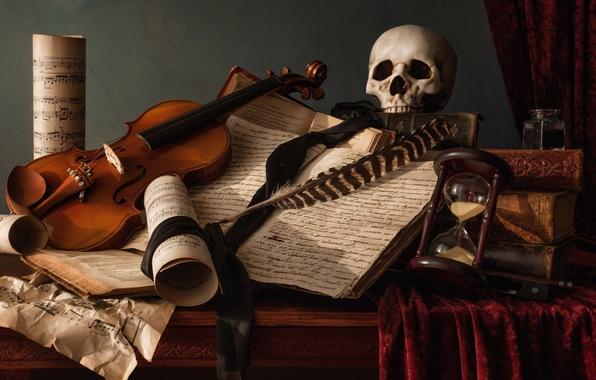Picture notes, pen, violin, books, skull, still life, hourglass, the manuscript