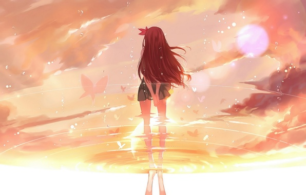 Photo Wallpaper Water Girl The Sun Drops Butterfly Reflection Anime