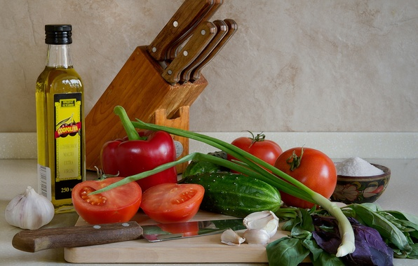 Picture greens, oil, bow, pepper, knives, vegetables, tomatoes, cucumbers, garlic, Basil