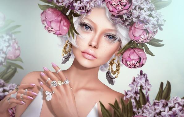 Picture girl, flowers, ring, earrings, wreath