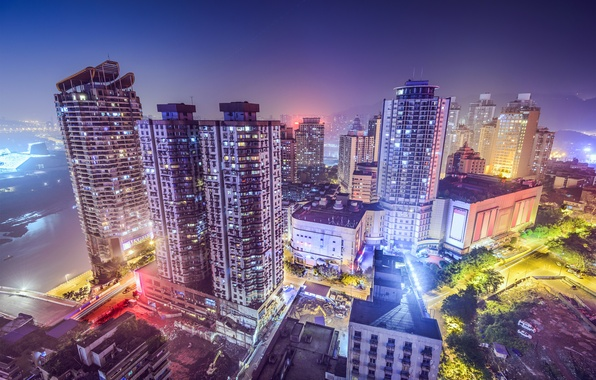 Picture Night, The city, Skyscrapers, China, Chongqing