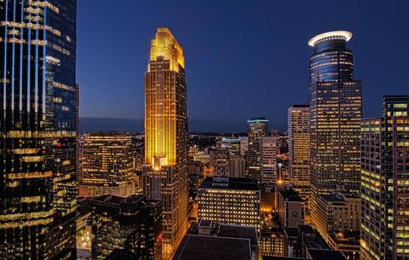 Picture the sky, night, lights, building, home, skyscrapers, lighting, backlight, USA, blue, Minneapolis, Minnesota