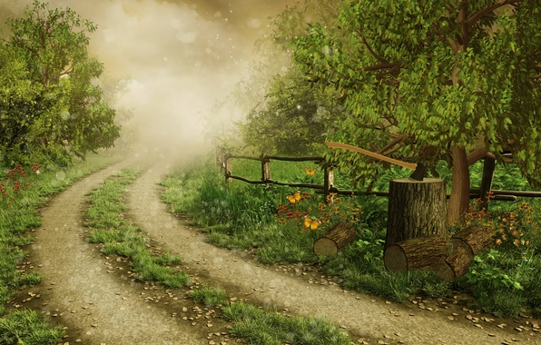 Picture road, forest, grass, trees, butterfly, nature, fog, glare, figure, the fence, axe, logs