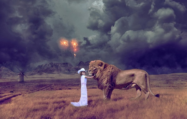 Picture mountains, clouds, the steppe, fantasy, Leo, mill, girl