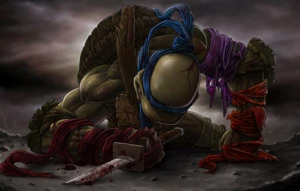 Picture blood, sword, katana, tears, teenage mutant ninja turtles, TMNT, Leonardo, Leonardo, teenage mutant ninja turtles