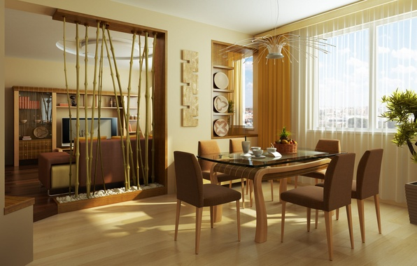 Picture leaves, flowers, design, style, table, room, chairs, interior, plants, Cup, mugs, apartment, bamboo inserts