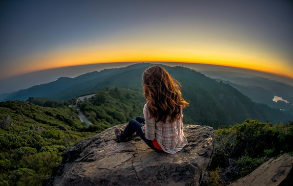 Picture girl, landscape, stone, view, overview