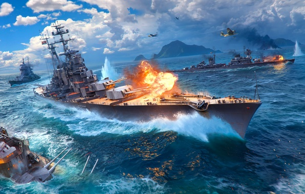 Picture The sky, Water, Clouds, Mountains, Wave, Smoke, Aircraft, Fire, Ship, Sparks, Ships, Flame, Shot, Cruiser, …