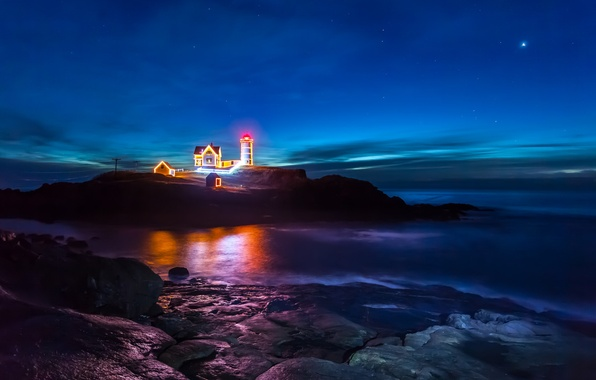 Picture sea, the sky, stars, night, reflection, rocks, lighthouse, mirror, power lines, Christmas light