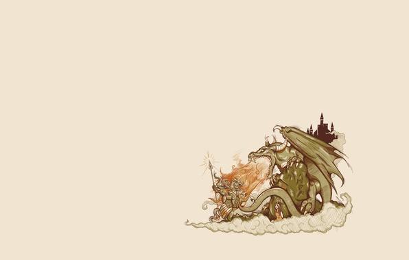 Photo wallpaper girl, background, castle, dragon, tale, knight
