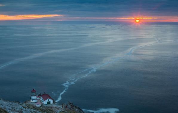 Picture sea, landscape, sunset, lighthouse