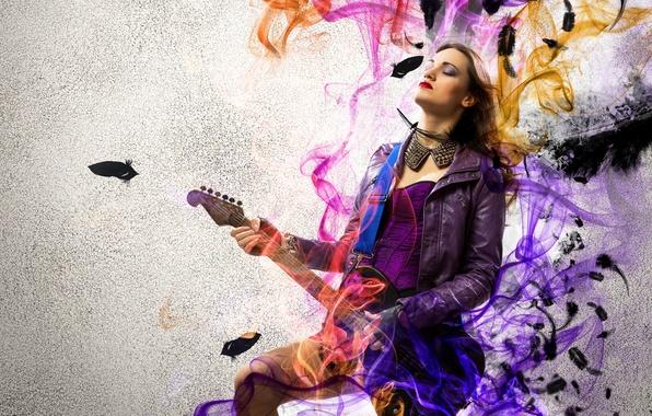 Picture girl, music, smoke, guitar, rock