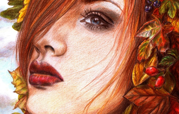 Picture look, leaves, girl, face, berries, hair, makeup, painting, red lips