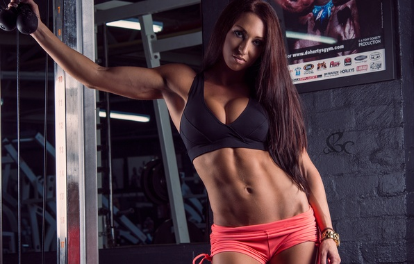 Picture sexy, model, pose, fitness, gym